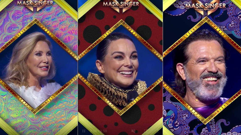 Norma Duval, Mónica Carrillo y Pepe Navarro, tras ser desenmascarados. (Atresmedia)