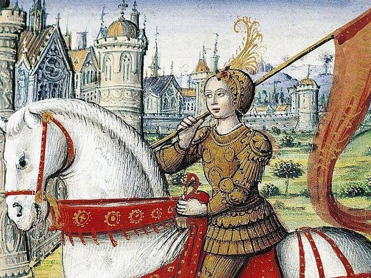 Foto: Juana a caballo según una ilustración de 'Les vies des femmes célèbres' de Antoine Dufour (CC)