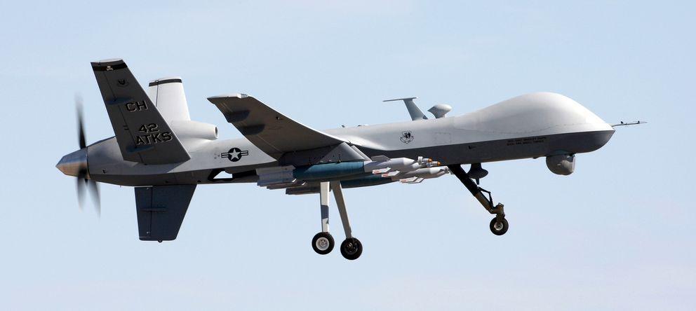 Foto: Un avión no tripulado 'MQ-9-Reaper' durante una prueba de vuelto. (Wikipedia)