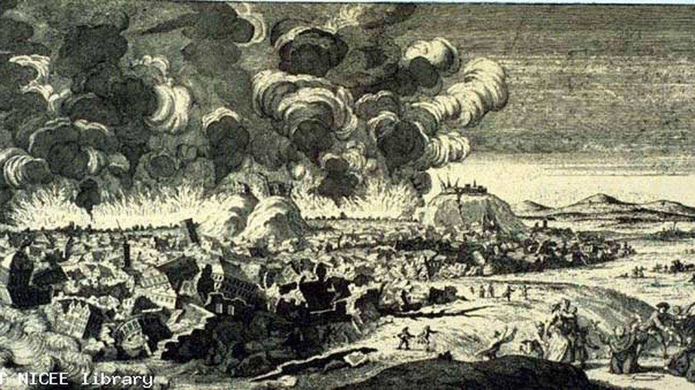 Lisboa vista desde el este durante el terremoto. Fuegos exagerados y efectos de daños (grabado en cobre, Países Bajos, 1756).