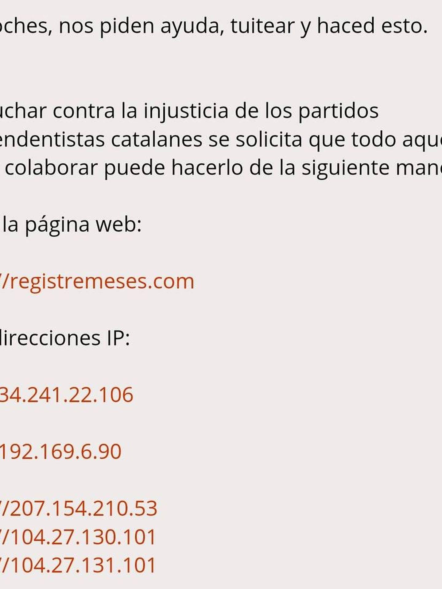 Hilo de Forocoches, ya eliminado, donde se animaba a atacar las direcciones IP del referéndum.