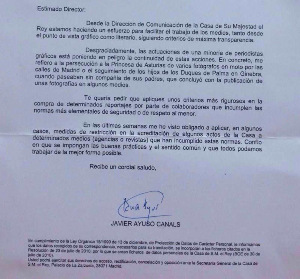 Una imagen de la carta remitida por Ayuso