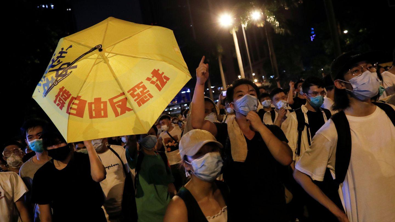Algunos manifestantes de la marcha de este domingo en Hong Kong. (Reuters)