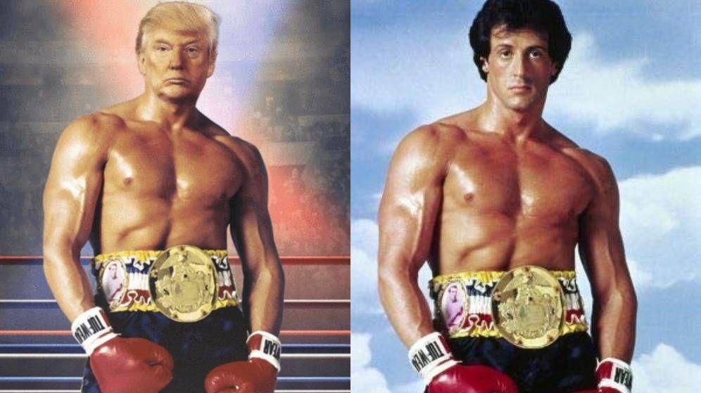 Foto: Donald Trump publica una foto simulando ser Rocky. (Twitter/ C.C.)
