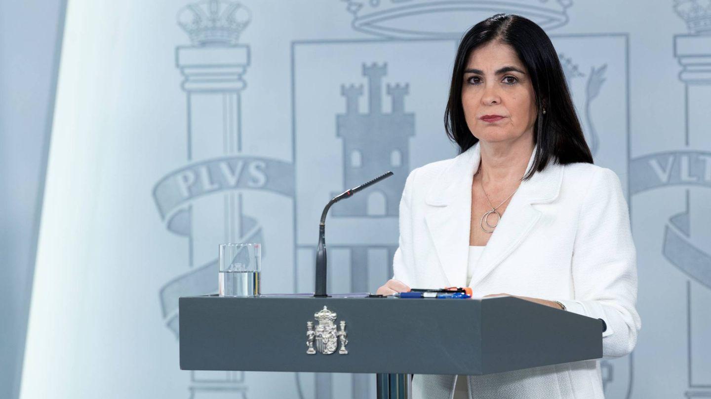 La ministra de Política Territorial y Función Pública, Carolina Darias, en rueda de prensa en la Moncloa este 13 de abril de 2020. (Pool Moncloa)