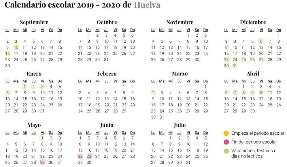 Foto: Calendario escolar 2019-2020 Huelva (El Confidencial)