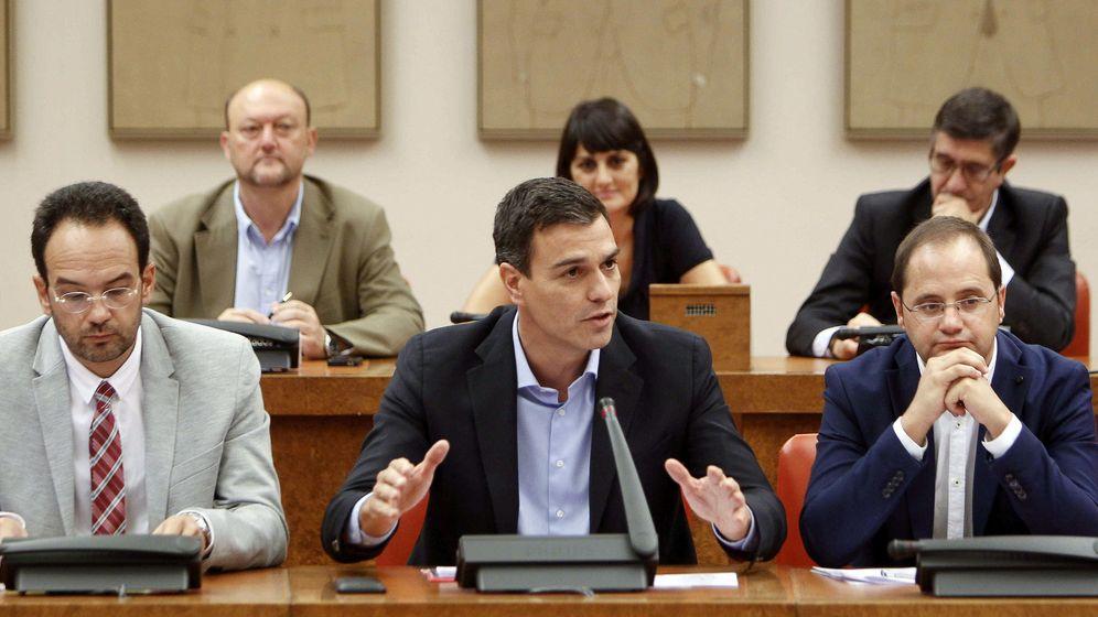 Foto: Pedro Sánchez, flanqueado por Antonio Hernando, a su derecha, y César Luena, en la reunión del Grupo Socialista, este 14 de septiembre en el Congreso. (EFE)