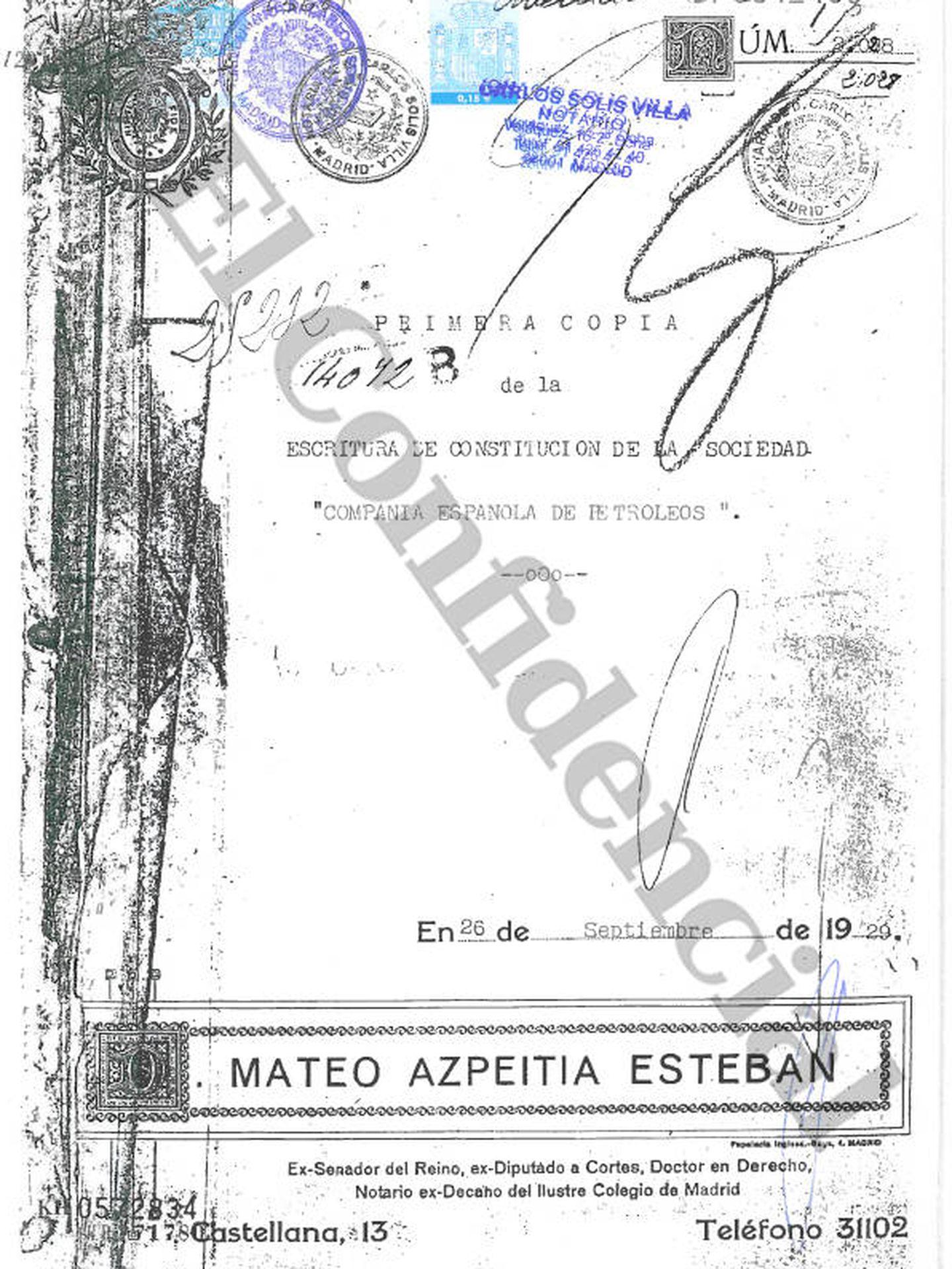 Copia de la escritura original de constitución de Cepsa en 1929.