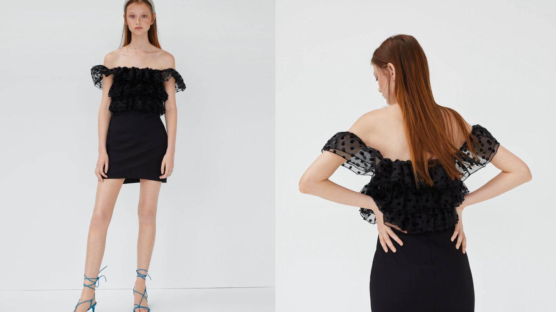 Plumeti y falda mini de Zara. (Cortesía)