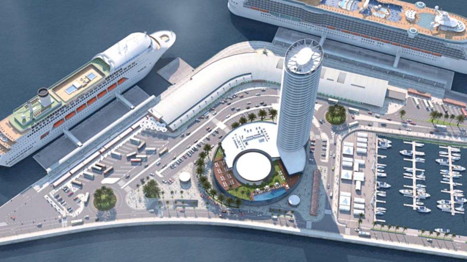 Foto: Vista aérea de la simulación de cómo quedaría la torre.