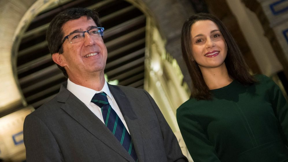 Foto: La portavoz nacional de Ciudadanos, Inés Arrimadas, durante un desayuno-coloquio organizado por la Cámara de Comercio en Sevilla, en el que ha presentado al líder andaluz del partido, Juan Marín. (EFE)