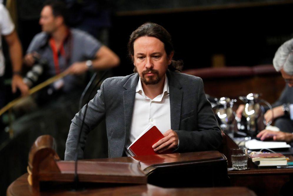 Foto: Pablo Iglesias, justo antes de iniciar su turno de réplica en el pleno de este 11 de septiembre en el Congreso. (EFE)