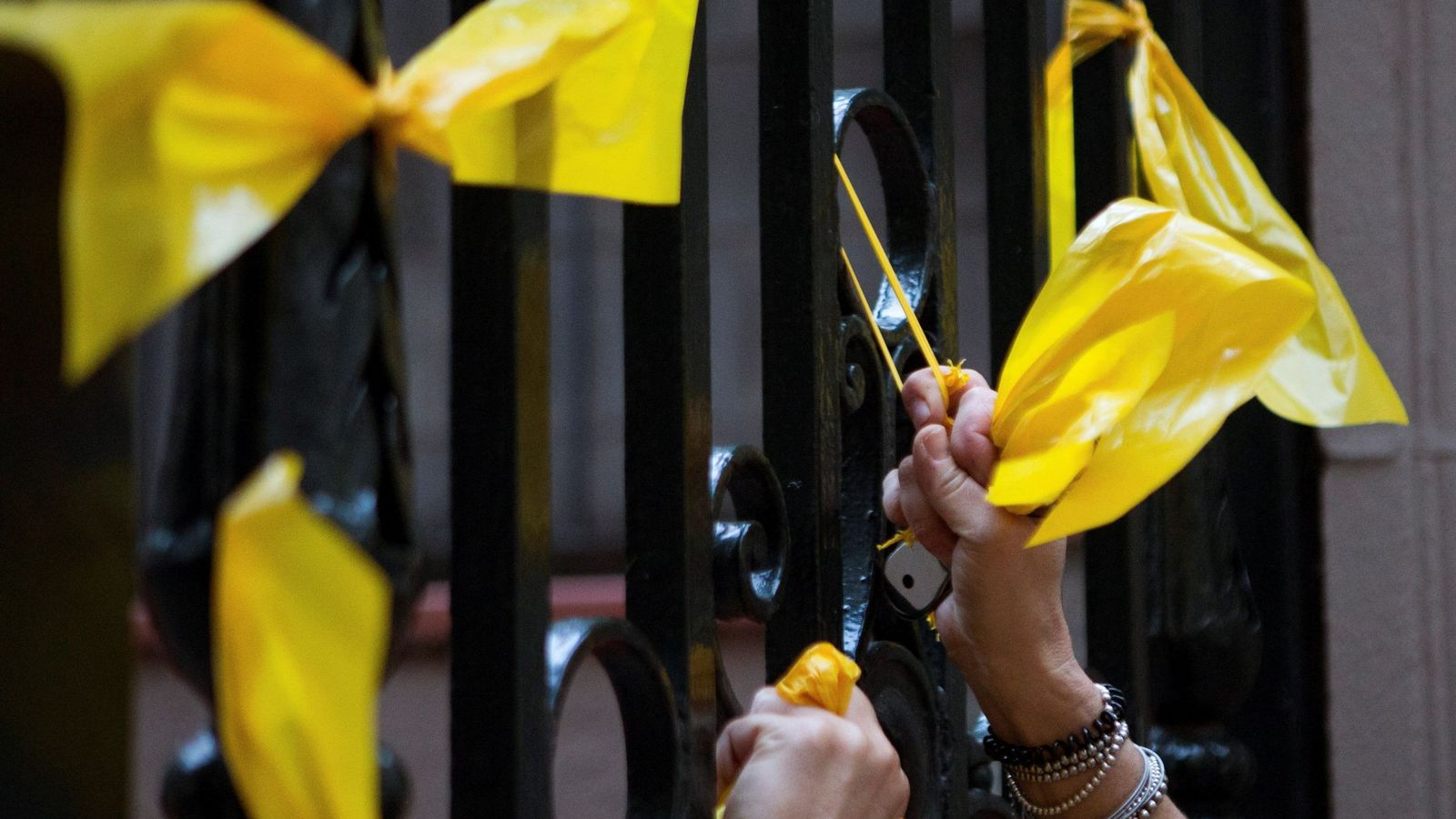 Foto: Varios miembros de los Grupos de Defensa y Resistencia (GDR) -contrarios a la independencia de Cataluña-, retiran los lazos amarillos previamente puestos por CDR. (EFE)
