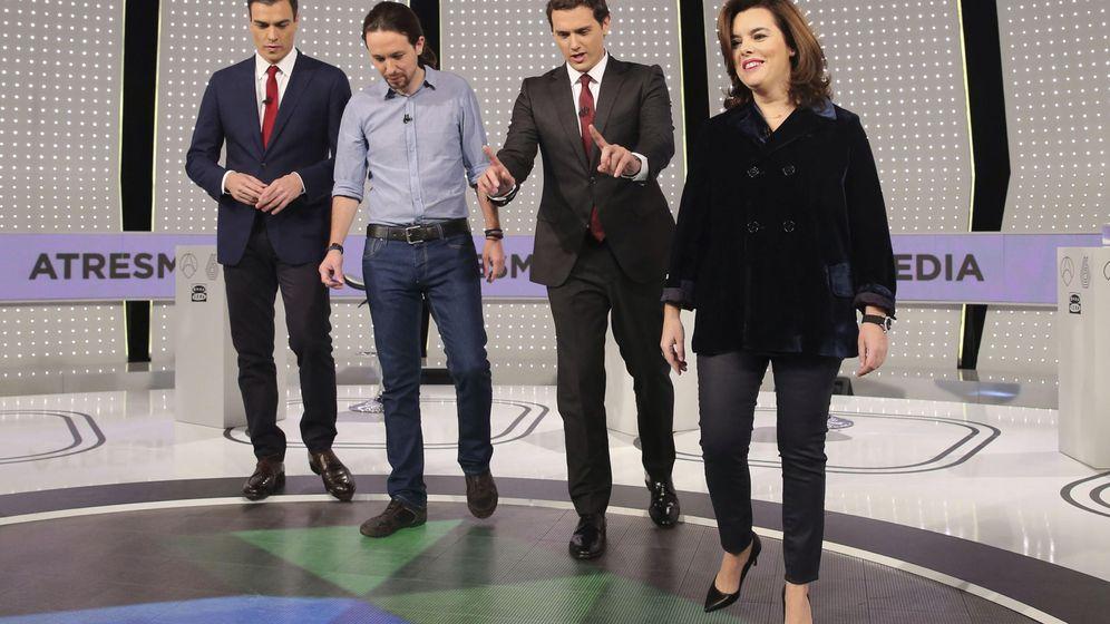 Foto: Pedro Sánchez, Pablo Iglesias, Albert Rivera y Soraya Saénz de Santamaría, durante el debate a cuatro del pasado diciembre. (EFE)