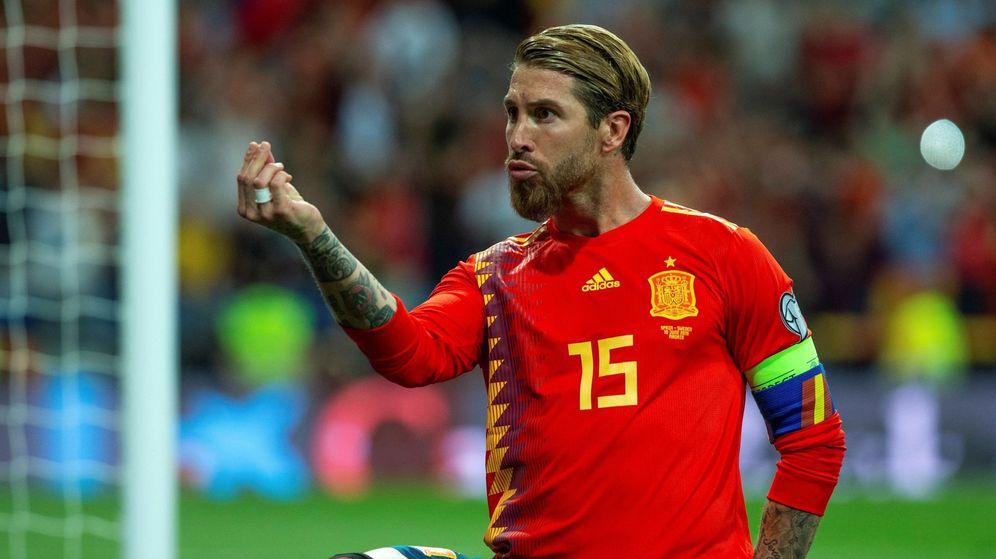 Foto: Sergio Ramos celebra su último gol con la Selección española. (EFE)