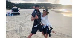 Post de Elsa Pataky, Chris Hemsworth y una medusa: la familia se divierte en la playa