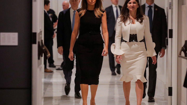 Melania Trump con el mismo vestido de Prada hace dos semanas. (Reuters)