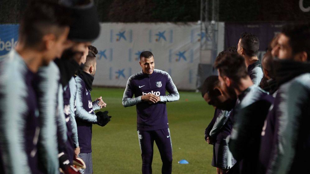 Foto: Jeison Murillo, en su primer entrenamiento. (FCB)