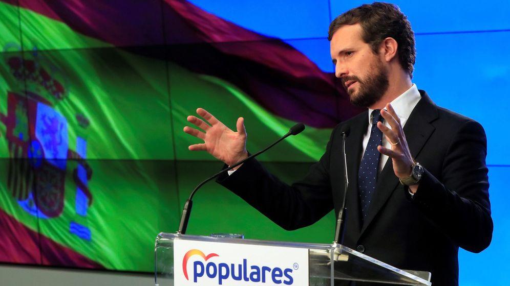 Foto: Pablo Casado durante la comparecencia de este lunes. (EFE)