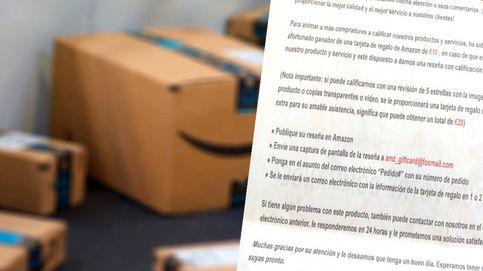 La última treta de las reseñas en Amazon: cartas con 20€ de regalo si das 5 estrellas