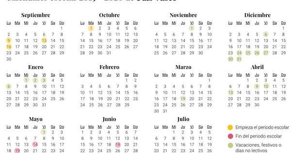 Calendario 2020 Pais Vasco.Calendario Escolar De 2019 2020 En Pais Vasco Vacaciones