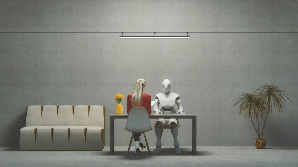 Foto: Una entrevista de trabajo ficticia con un cíborg. (iStock)