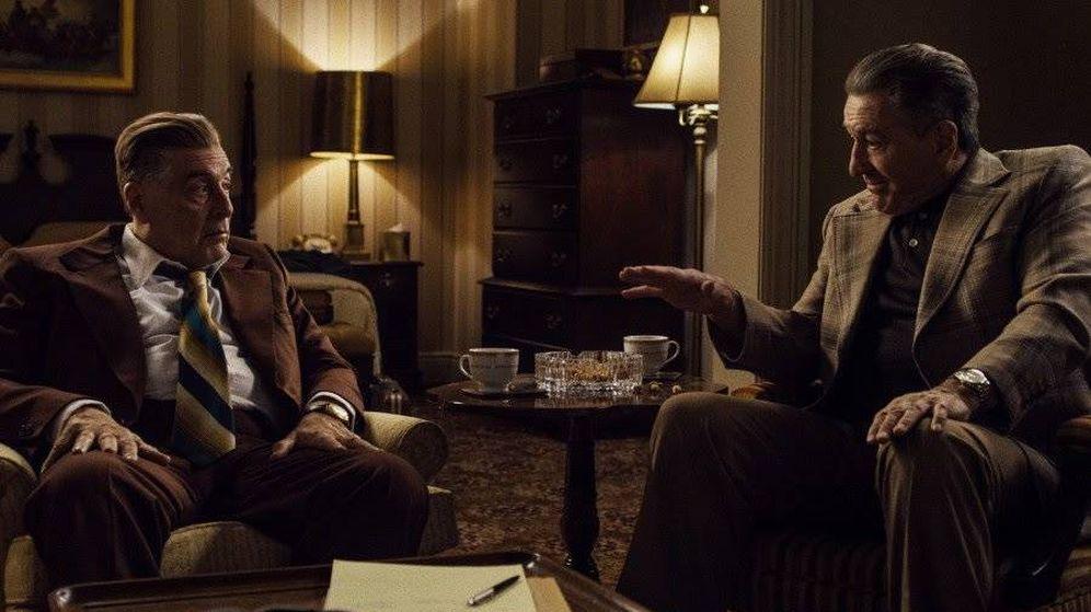 Foto: Al Pacino interpreta al sindicalista Jimmy Hoffa; Robert De Niro a Frank Sheeran. (TriPictures)