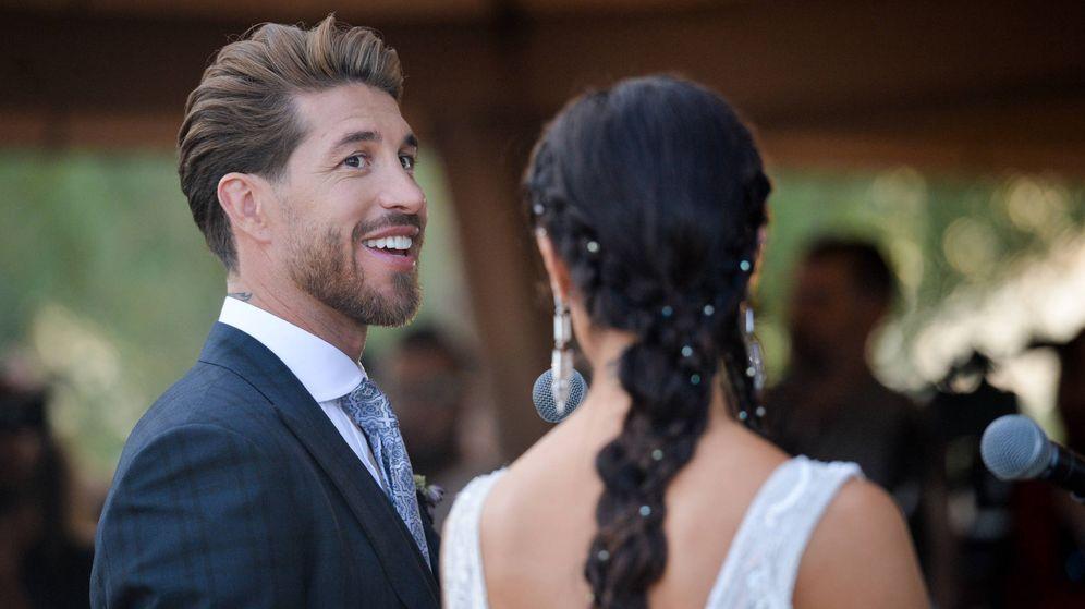 Foto: Sergio Ramos y Pilar Rubio durante su boda en Sevilla. (Getty)