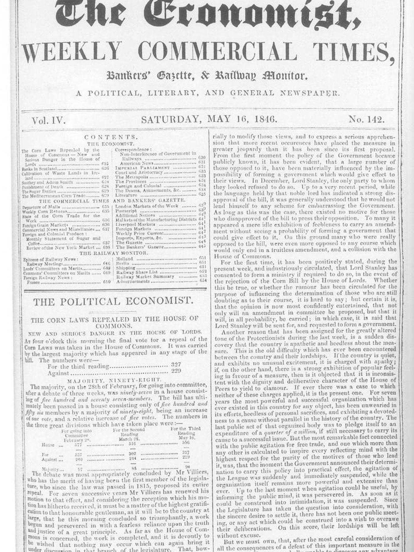 Ejemplar de 'The Economist' de 1846.