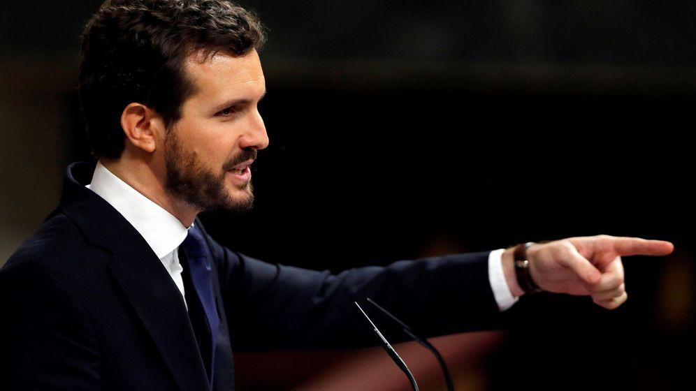 Foto: El presidente del PP, Pablo Casado, durante su intervención en el Congreso de los Diputados. (EFE)