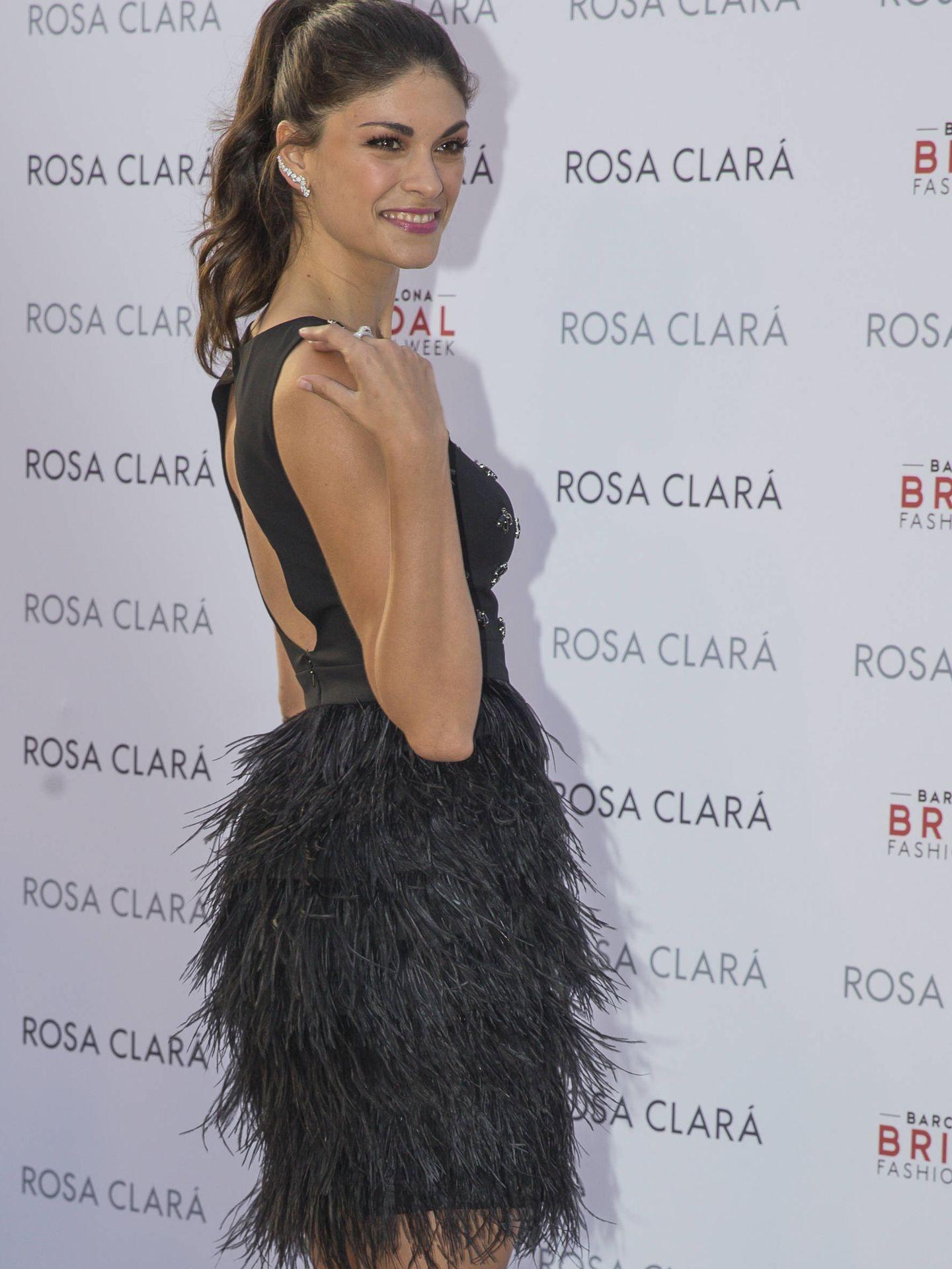 Linda Morselli, la novia de Fernando Alonso, posando en el photocall. (Gtres)