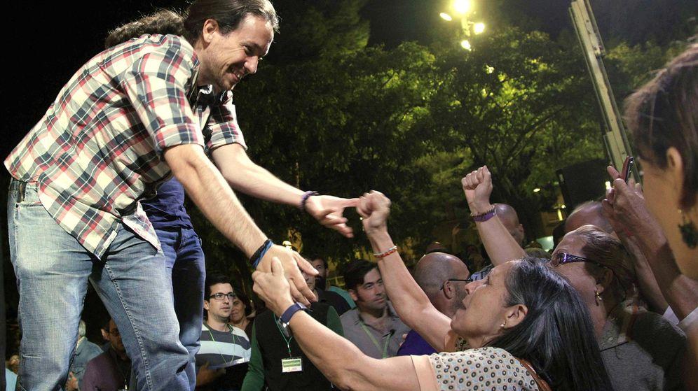 Foto: Pablo Iglesias durante un acto de campaña de Catalunya Sí que es Pot. (EFE)