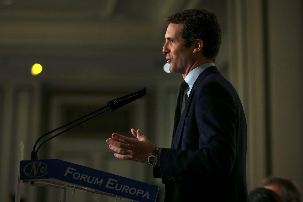 Foto: Pablo Casado en una imagen de esta semana en Nueva Economía Fórum. (EFE)