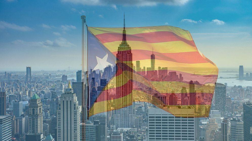Foto: Nueva York de fondo con una bandera independentista.