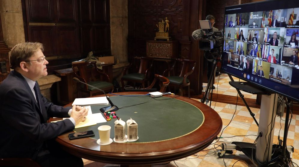 Foto: Ximo Puig, en una videoconferencia con Sánchez y presidentes autonómicos. (EFE)