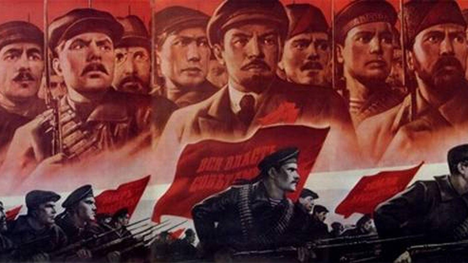 Ilustración de bolcheviques y mencheviques