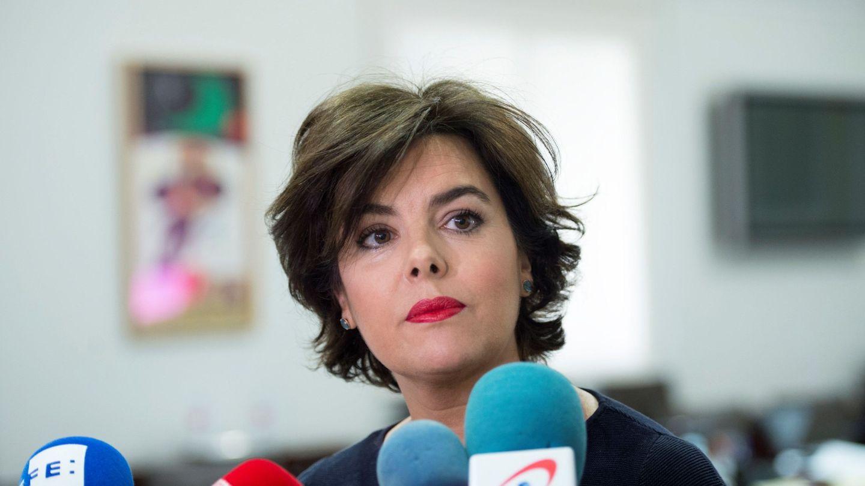 Soraya Sáenz de Santamaría, en una comparecencia ante los medios | EFE