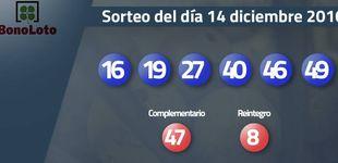 Post de Resultados del sorteo de la Bonoloto del 14 diciembre 2016: números 16, 19, 27, 40, 46, 49