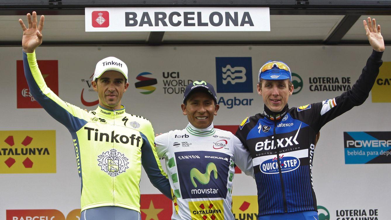Foto: El podio de la Volta: Contador, Quintana y Martin (Quique García/Efe)
