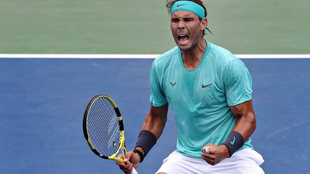 Foto: Nadal celebra su pase a octavos tras eliminar a un correoso Evans. (@CoupeRogers)