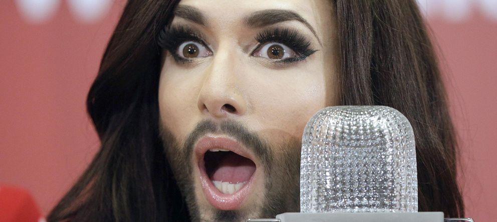 Foto: Conchita Wurst durante la rueda de prensa de Eurovisión. (EFE)