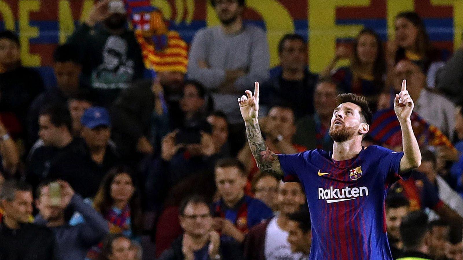 Foto: Messi celebra uno de los tres goles que le marcó al Espanyol. (EFE)