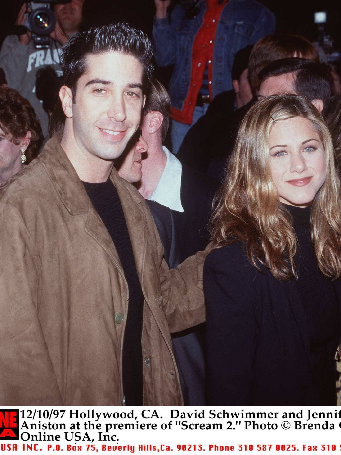 David Schwimmer y Jennifer Aniston, juntos en una premiere en 1997. (Getty)