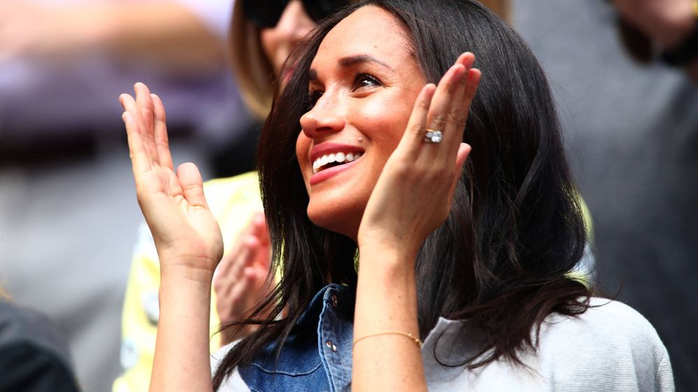 Foto:  Meghan Markle, viendo jugar a Serena Williams en la final del US Open 2019. (Getty)