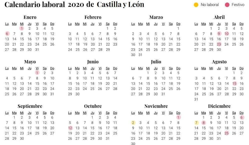 Calendario Agosto 2020 Espana.Calendario Laboral 2020 En Castilla Y Leon Aprobado Dos