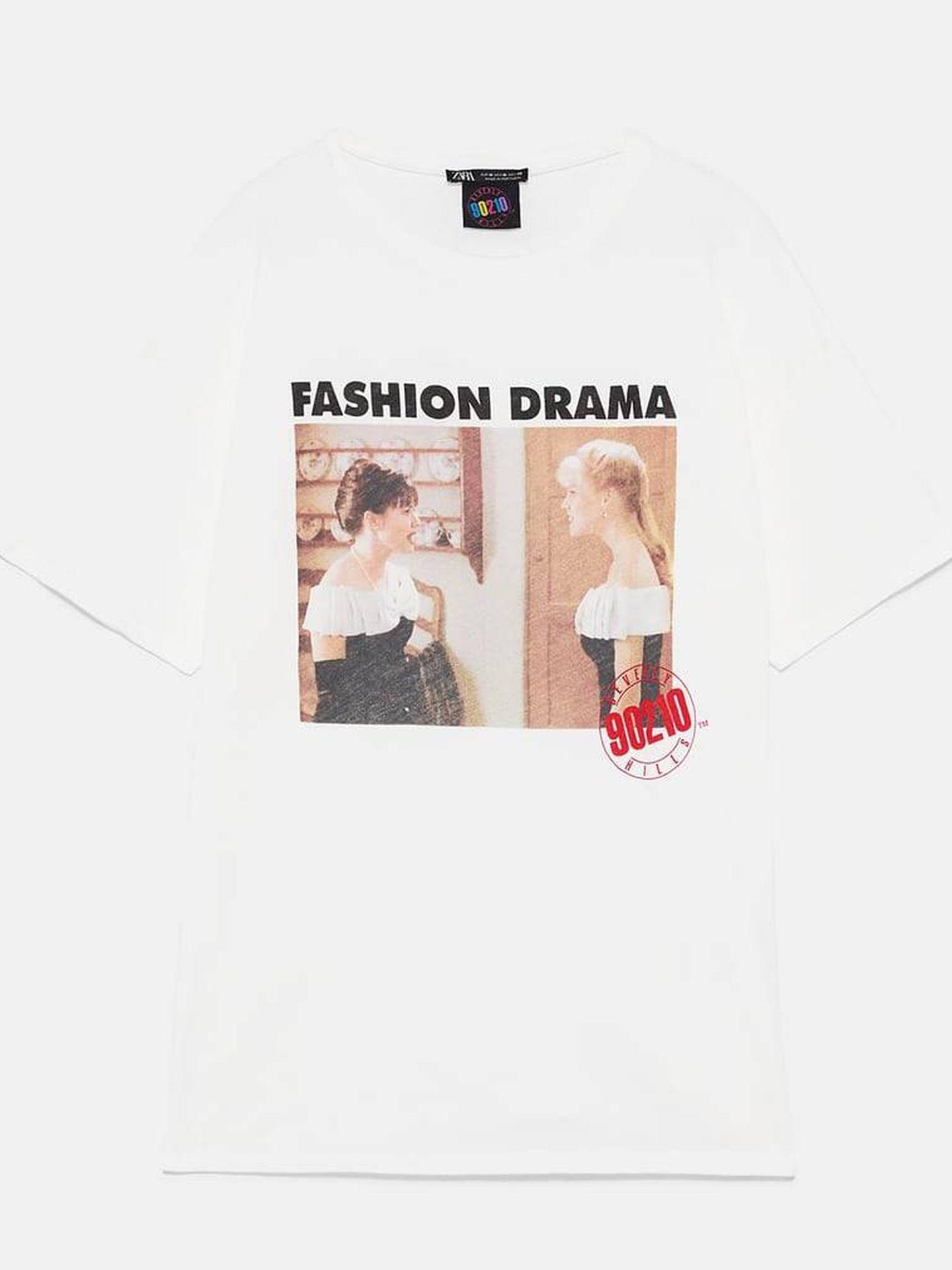 Camiseta en blanco Fashion Drama, 12,95 euros. (Zara)