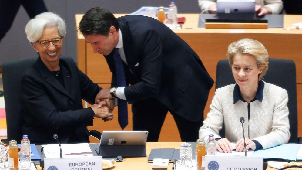 Foto: Primer ministro Italiano, Giuseppe Conte con el presidenta del Banco Central Europeo, Christine Lagarde (EFE)
