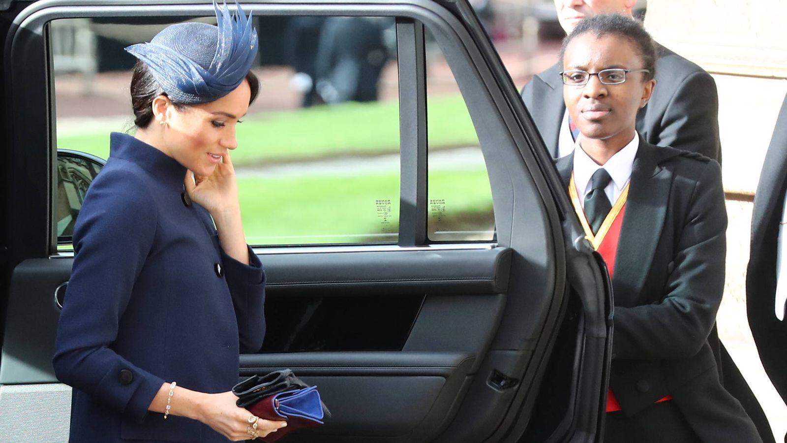 Foto: Markle llegando a la boda de la princesa Eugenia. (Getty)