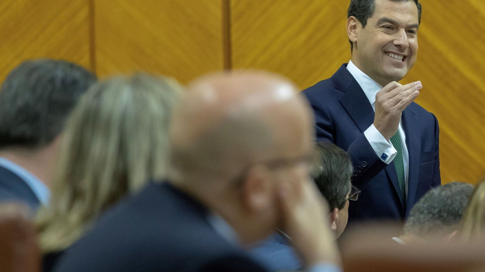 Foto: Moreno, en el Parlamento de Andalucía, este jueves. (EFE)