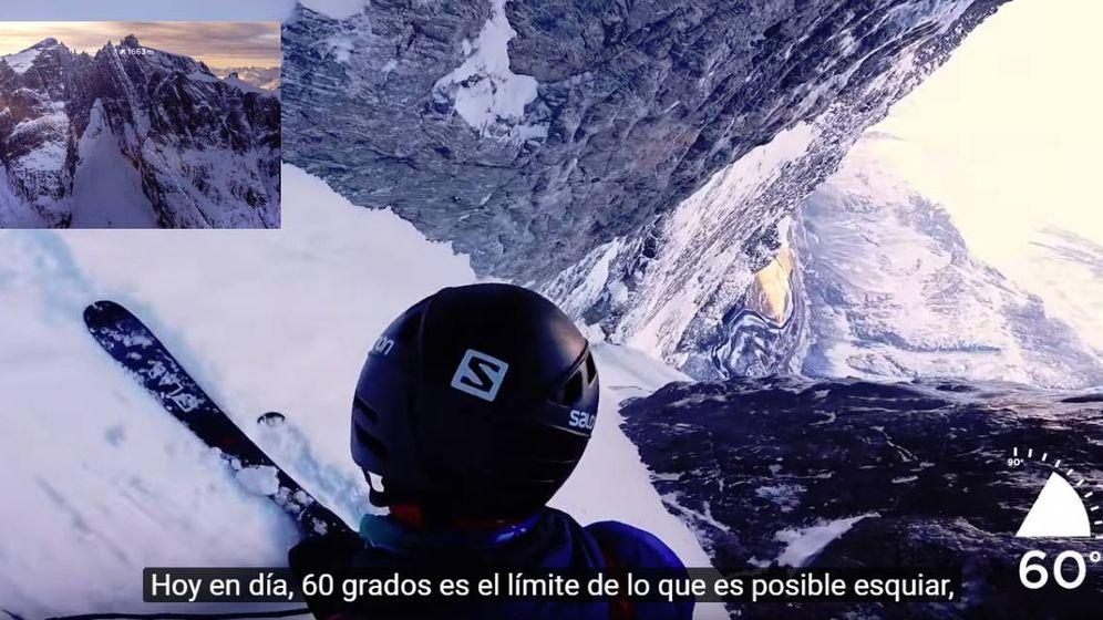 Foto: Kilian Jornet en pleno descenso del 'Troll Wall'.